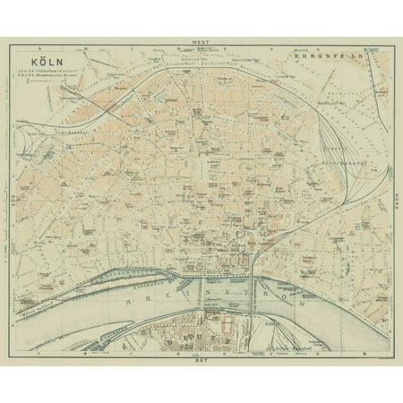 International Map - Cologne - Germany - Baedeker 1914 - 28.12 x 23