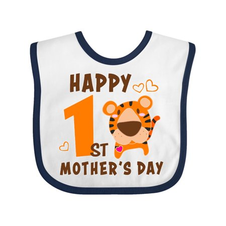 Happy First Mothers Day with Tiger Baby Bib White/Navy One
