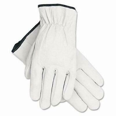 Memphis Grain Goatskin Driver Gloves, White, Large