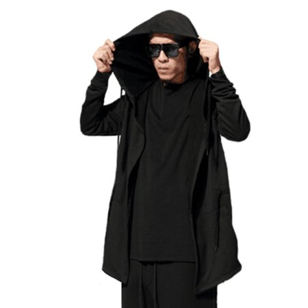Men's Trench Coat Cardigan Black Long Hooded Cardigan Cape Cloak Coat Open Front Longline Hooded Cardigan ()