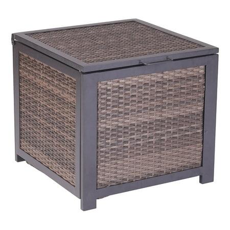 Swell Mainstays Cassel Outdoor Wicker Storage Cube In Espresso Interior Design Ideas Gentotryabchikinfo