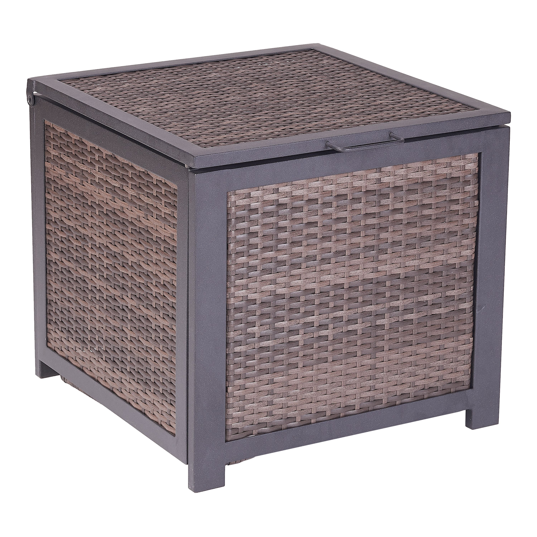 Mainstays Cassel Outdoor Wicker Storage Cube in Espresso