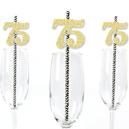 Gold Glitter 75 Party Straws - No-Mess Real Gold Glitter Cut-Out Numbers & Decorative 75th Birthday Paper Straws - 24 Ct (75th Birthday Party Supplies)
