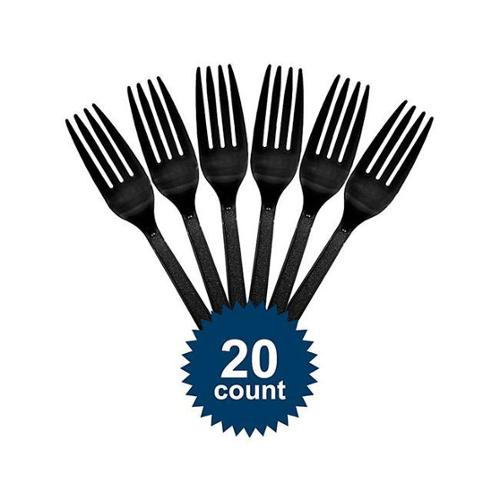 Black Plastic Forks - Party Supplies