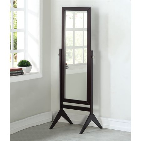 Legacy Decor Espresso Finish Wood Rectangular Cheval Floor Mirror ...