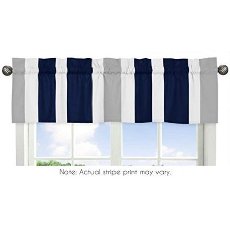 Navy Blue, Gray and White Window Treatment Valance for Stripes Bedding Collection, Dimensions: 54 in. x 15 in. By Sweet Jojo Designs ()