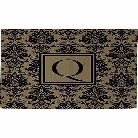 thumbprintz damask monogram rug black and gold