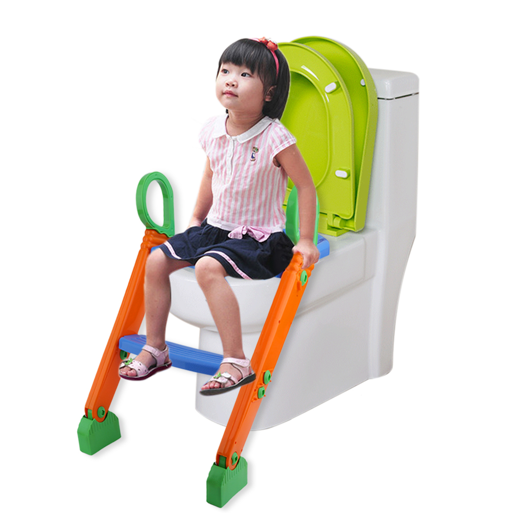 Portable Toilet Potty Trainer Seat Chair Kids Toddler With Ladder Step Up Blue