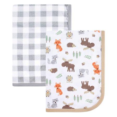 Hudson Baby Boy and Girl Interlock Cotton Blanket, 2-Pack, Woodland