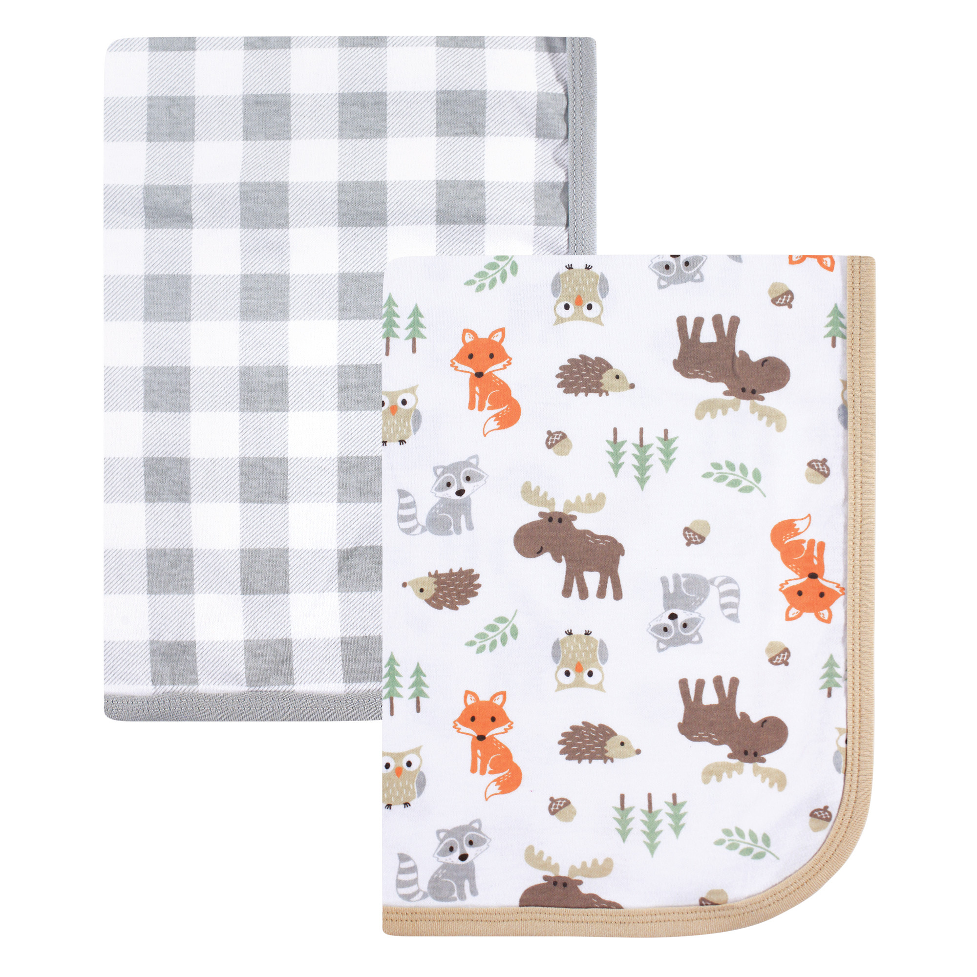 Hudson Baby Boy and Girl Interlock Cotton Blanket, 2-Pack, Woodland