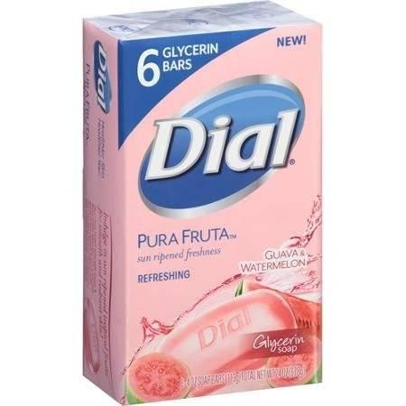 Dial Pura Fruta Guava & Watermelon Refreshing Glycerin Bar Soap, 4 oz, 6 count