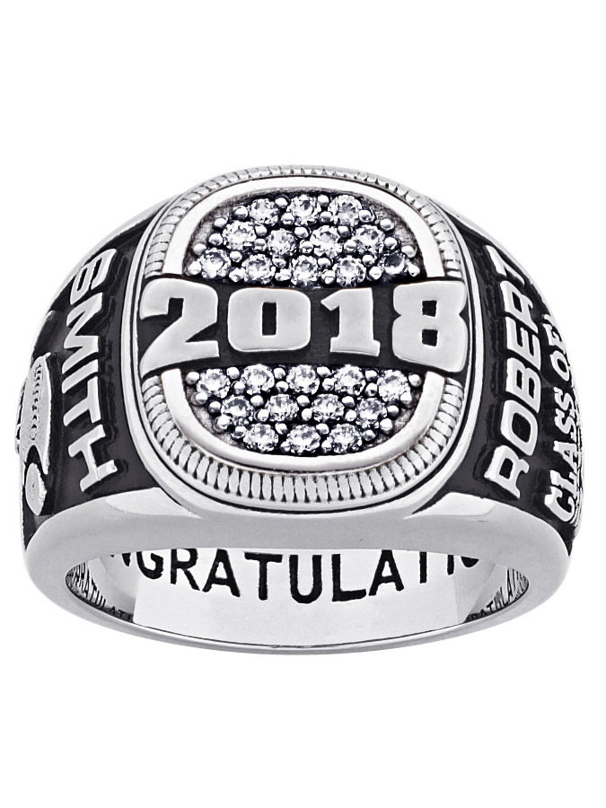 Personalized Men's Platinum Plated Celebrium Pave Cubic Zirconia Class Ring by Generic