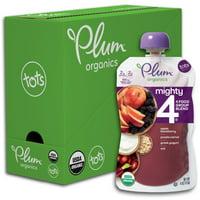 Plum Organics Mighty 4, Organic Toddler Food, Apple, Blackberry, Purple Carrot, Greek Yogurt & Oat, 4oz Pouch (Pack of 6)
