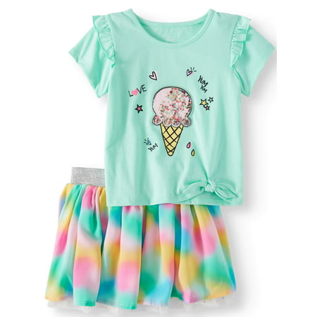 Wonder Nation Side-Tie Top & Reversible Skirt, 2pc Outfit Set (Toddler Girls)