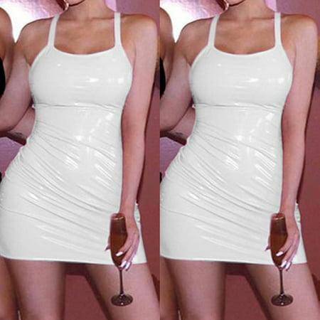 Fashion Womens Sleeveless PU Leather Sexy Bandage Dress Elegant Party Club Bodycon Dress Ladies Dance Clothing White