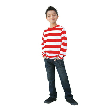 Long Sleeve Red White Striped Shirt Child Large](Rex Kid)
