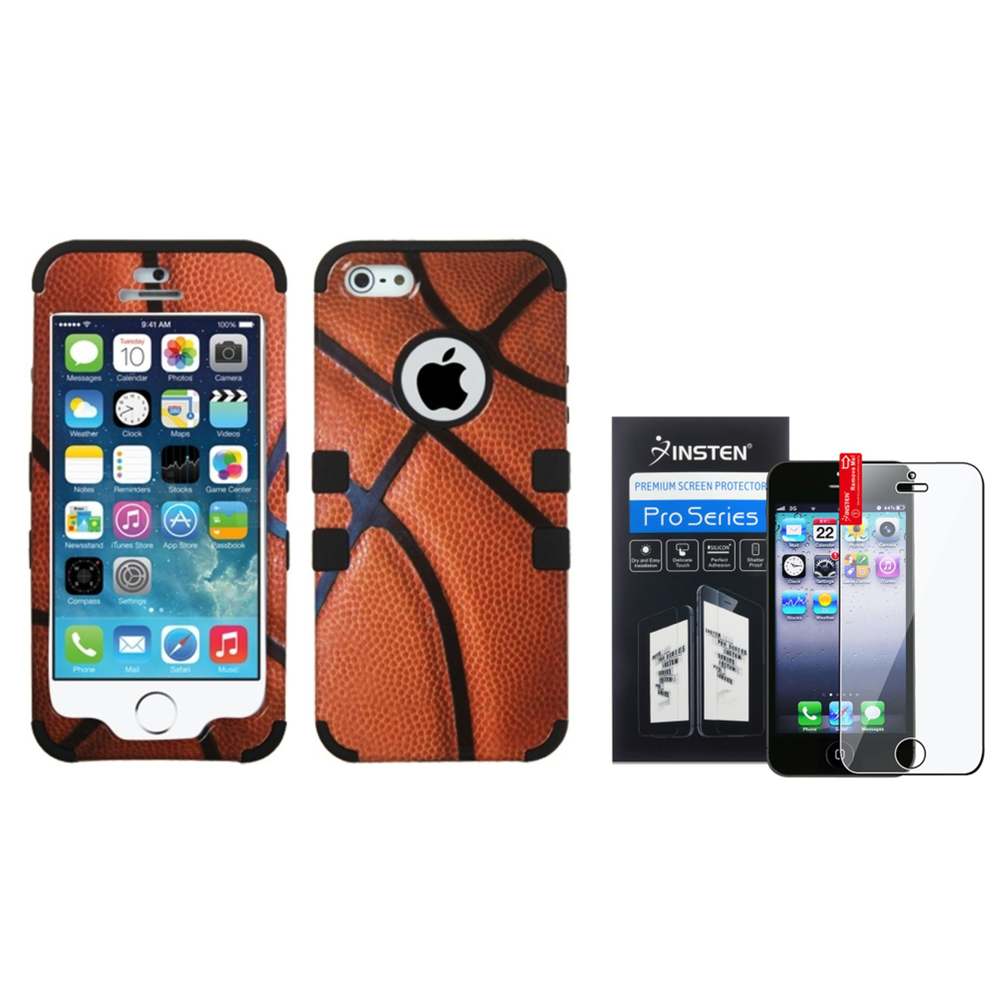 Basketball-Sports/Black Hybrid Tuff Case For Apple iPhone SE 5 5s 5th+Screen Protector