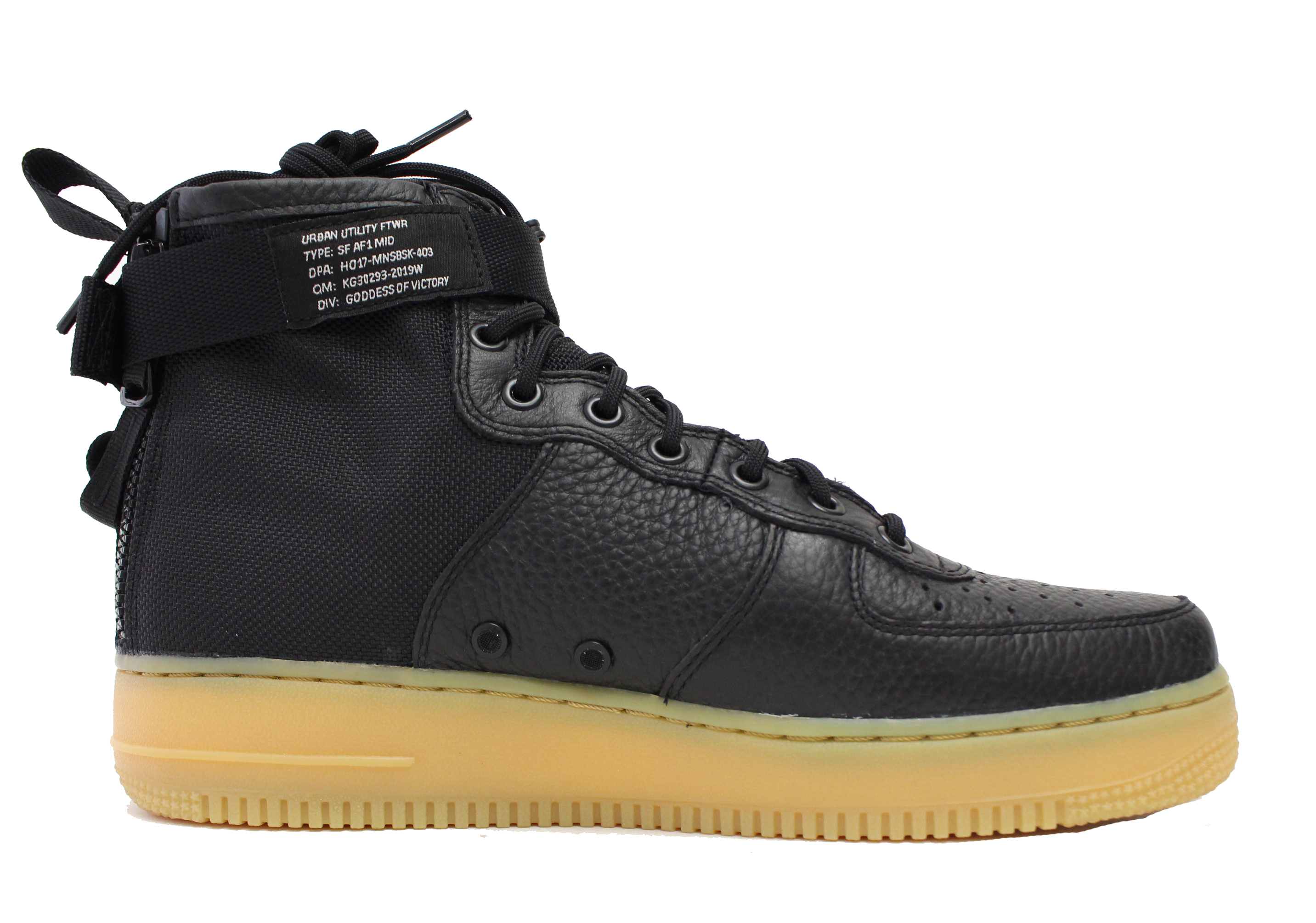 NIKE SF AF1 AIR FORCE 1 ONE MID SZ 8 BLACK GUM BROWN FIELD BOOT 917753 003