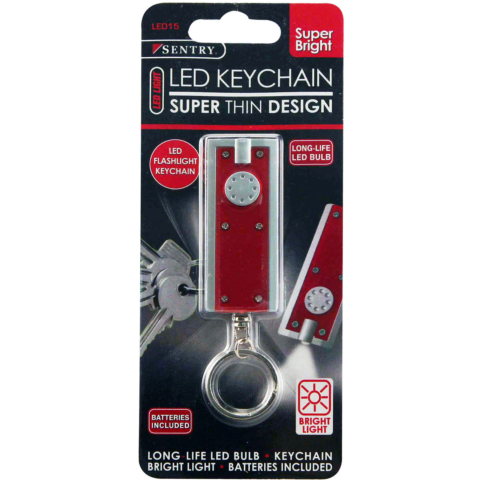 Sentry LTN-LED2P LED Flashlight Keychain, Silver/Red