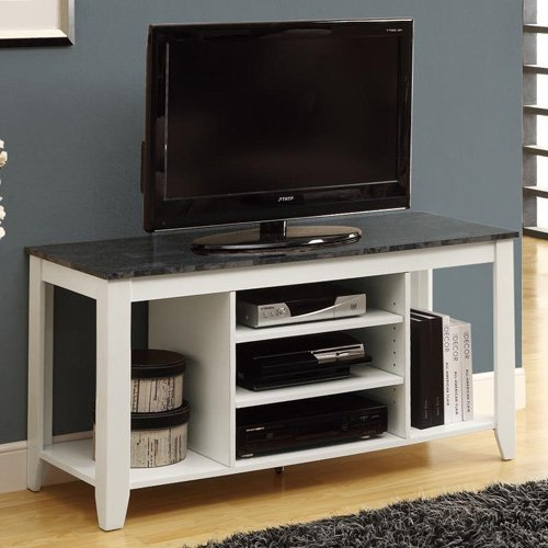 Monarch 48 in. TV Console - White with Grey Marble Top