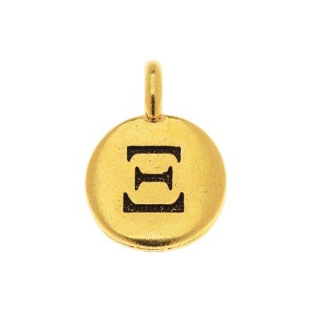 TierraCast Greek Alphabet Charm, Xi Symbol 16.75x11.75mm, 1 Piece, Antiqued Gold