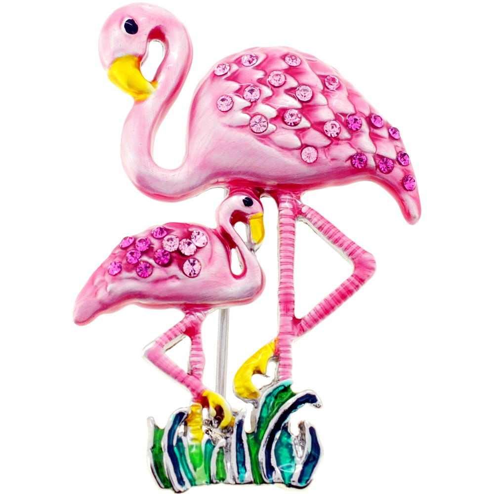 Pink Flamingo Mother and Baby Swarovski Crystal Pin Brooch by