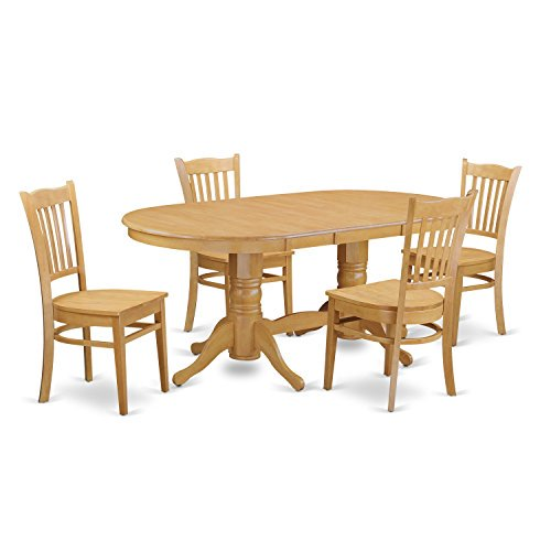 Oak Kitchen Tables And Chairs Sets: VAGR5-OAK-W 5-Piece Small Kitchen Table Set