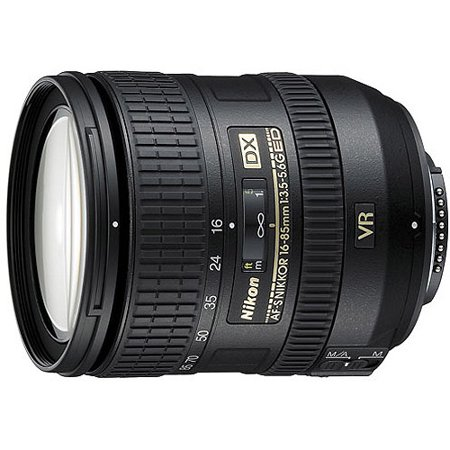 Nikon Nikkor 16-85mm Zoom Lens features VR Image Stabilzation; f/3.5-5.6, AF-S