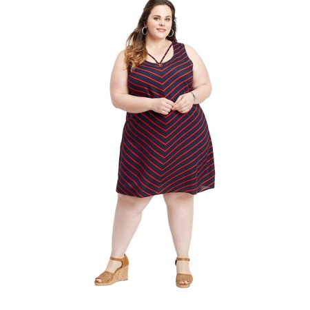 Plus Size Strappy Neck Chevron Dress
