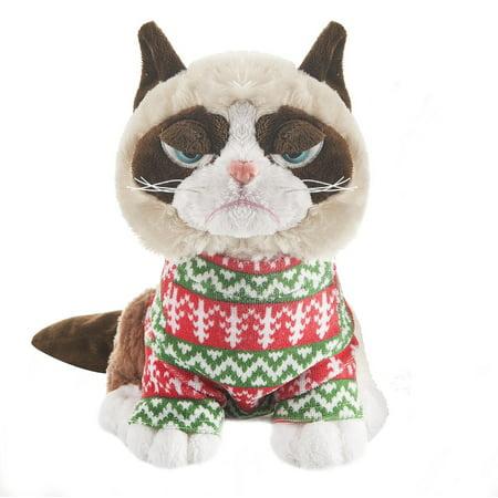 Sitting Grumpy Cat Plush Wearing an Ugly Holiday Sweater](Grumpy Cat Stuffed Animal)