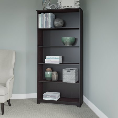 Bush Furniture Cabot 5 Shelf Bookcase In Espresso Oak