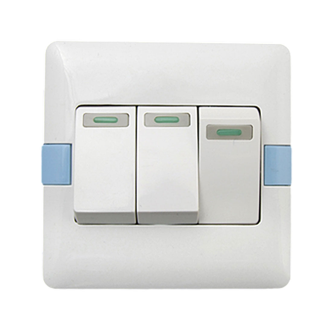 Home 16a 250v White Blue 3 Gang Button Light Switch Wall Plate Box