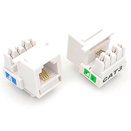 Keystone Phone - UbiGear 25 Pcs CAT3 RJ11 6P4C Phone Telephone Keystone Jack 110 H-Modular White CAT 3