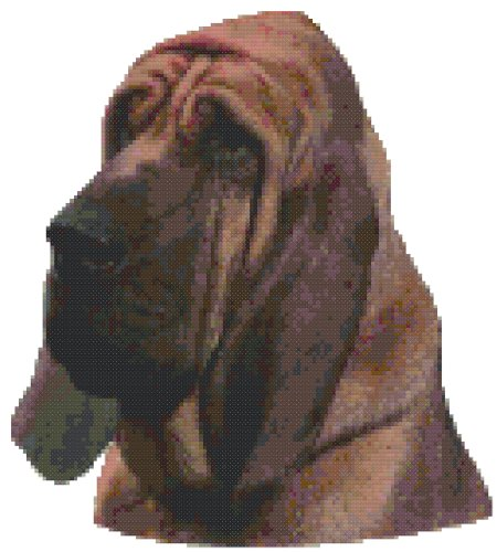 Bloodhound Dog Portrait Counted Cross Stitch Pattern