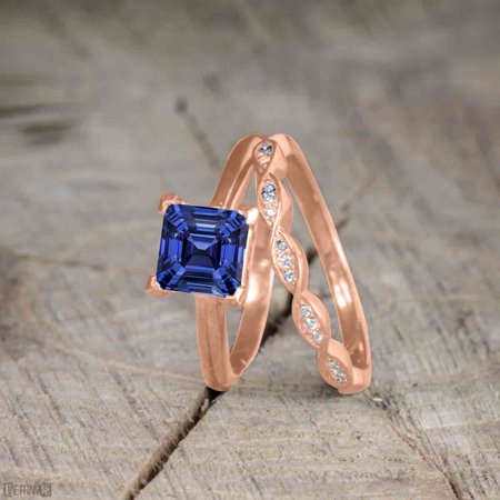 Beautiful 1 Carat Princess cut Sapphire Solitaire Engagement Ring for Women in Rose Gold