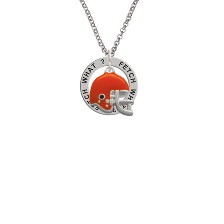 Small Orange Football Helmet Fetch What? Affirmation Ring Necklace - Small Football Helmets
