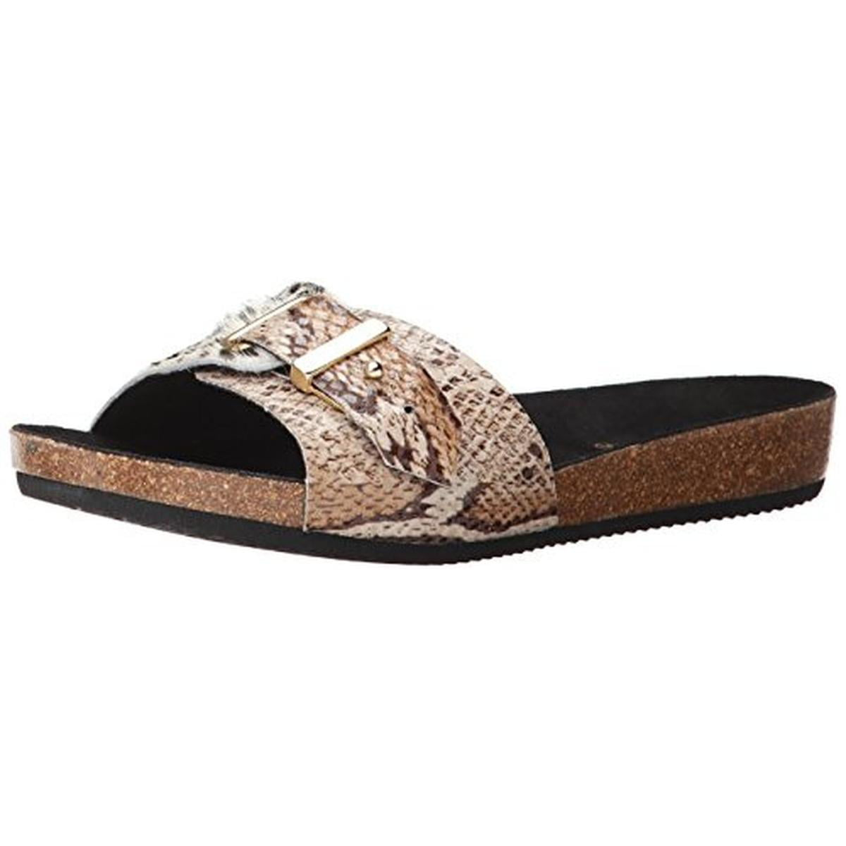 Ilse Jacobsen Womens Nomad Leather Animal Print Slide Sandals by Ilse Jacobsen