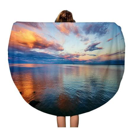 LADDKA 60 inch Round Beach Towel Blanket Minnesota Beautiful Sunset Lake Superior Walk Canal Park Duluth Travel Circle Circular Towels Mat Tapestry Beach Throw - Lake Superior Circle