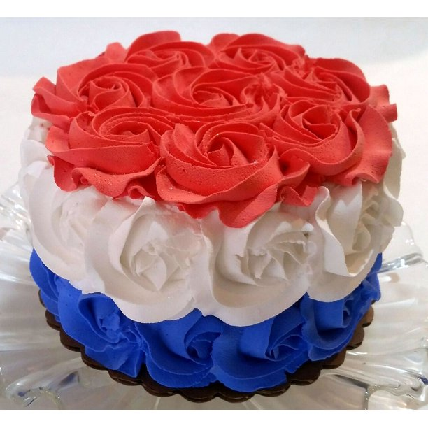 Incredible Red White Blue Rosette Cake 6 Fake Cake 4Th July Decoration Funny Birthday Cards Online Alyptdamsfinfo