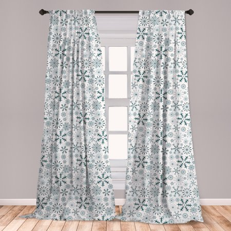Winter Curtains 2 Panels Set, Merry Xmas Theme Delicate Snowflakes Cold Freezing Weather Vintage Holiday Pattern, Window Drapes for Living Room Bedroom, Teal White, by Ambesonne ()