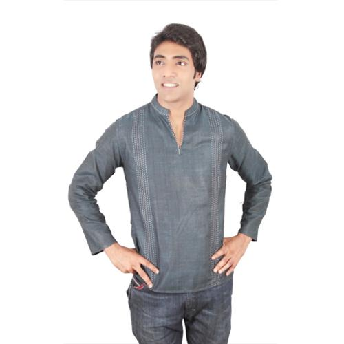 In-Sattva Handmade Men's Short Fitted Kurta Navy Tunic wi...