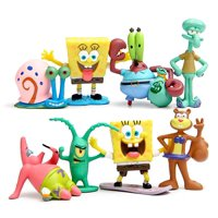 Set of 8 Figures for Inspired SpongeBob Birthday Party, Gift or Decoration - Squidward, Sandy Cheeks, Patrick Star, Mr. Krabs, Plankten