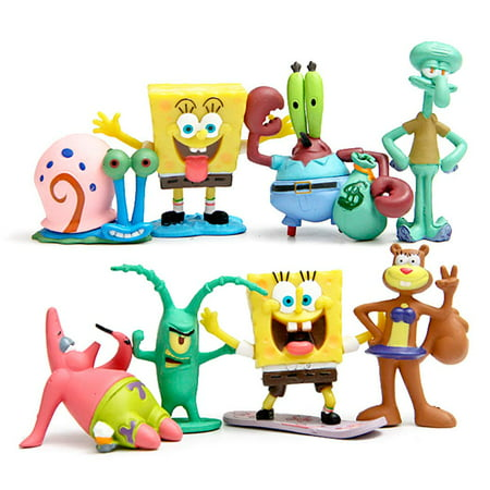 Spongebob Squarepants Party Ideas (Set of 8 Figures for SpongeBob SquarePants Inspired Birthday Party, Gift or Decoration - Squidward, Sandy Cheeks, Patrick Star, Mr. Krabs,)