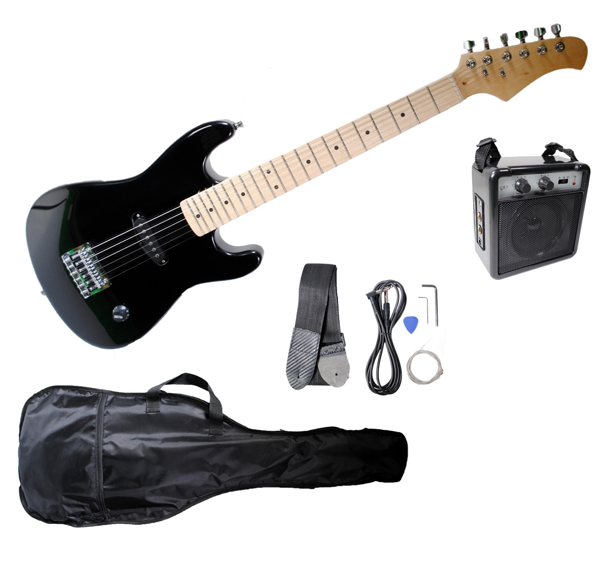 Omni Kids Junior Size Black Electric Guitar with Amp Gig Bag and Accessory Kit