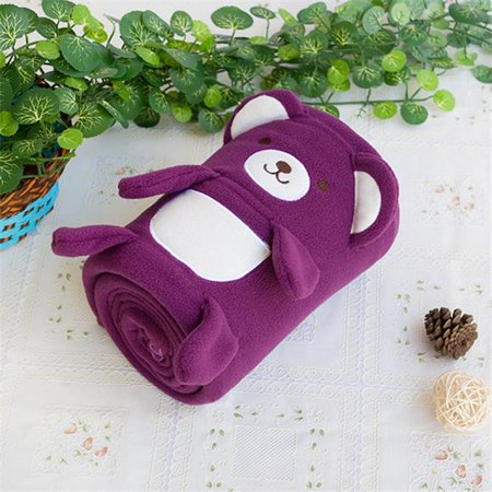 TB-BLK015-PURPLE-42.5by59.1 Happy Bear - Purple Embroidered Applique Coral Fleece Baby Throw Blanket