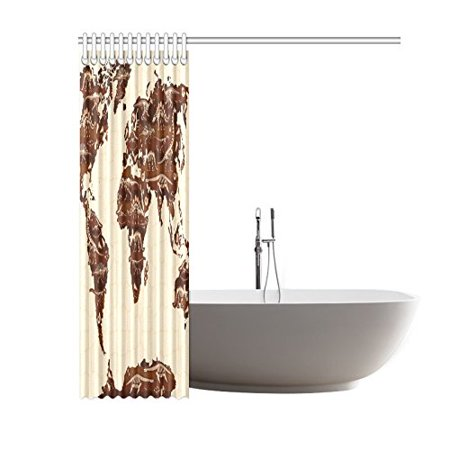 BSDHOME World Map Shower Curtain, Cartoon Dinosaurs Polyester Fabric Shower Curtain Bathroom Sets 60x72 Inches - image 3 of 3