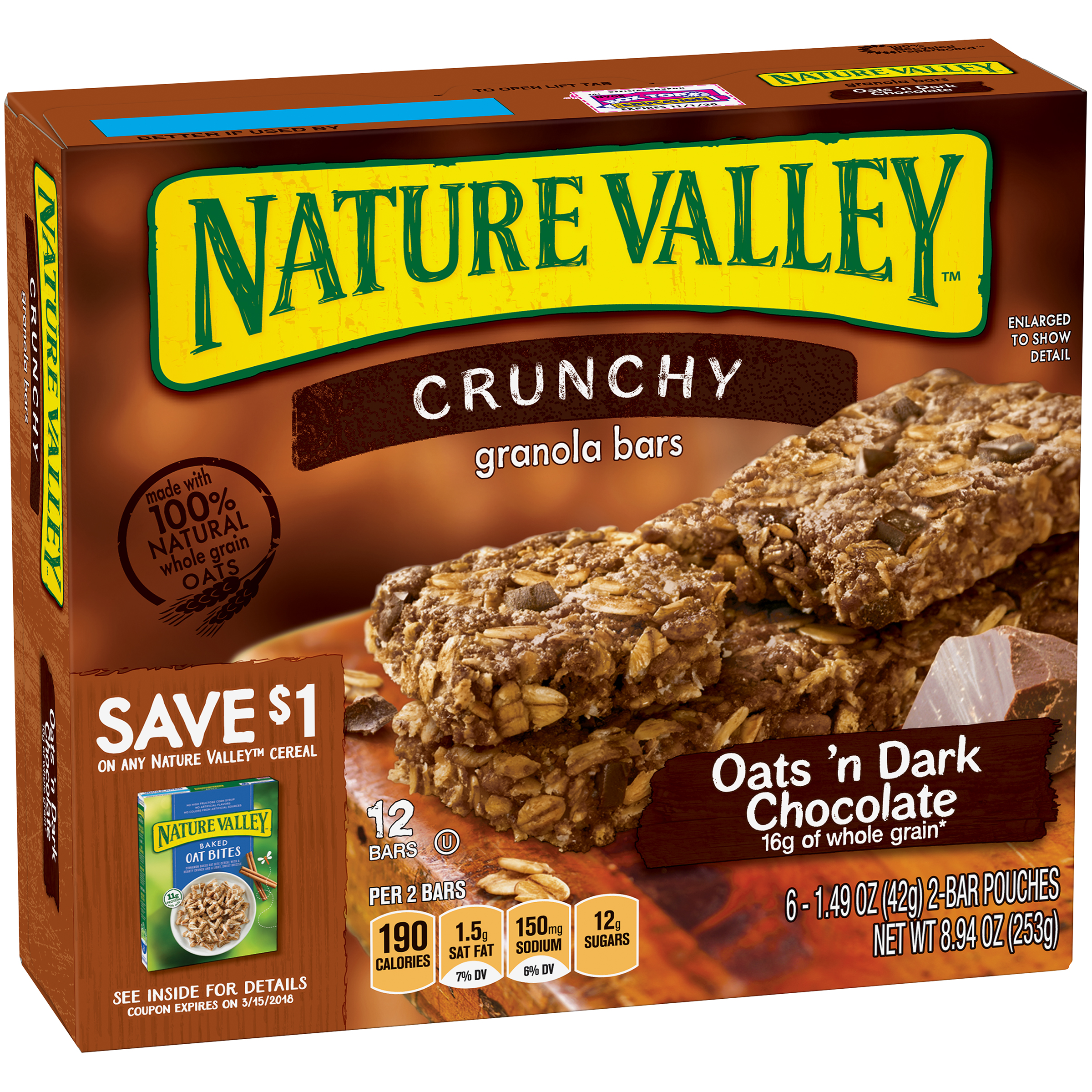 Nature Valley��� Oats 'n Dark Chocolate Crunchy Granola Bars 6-2 ct Pouches