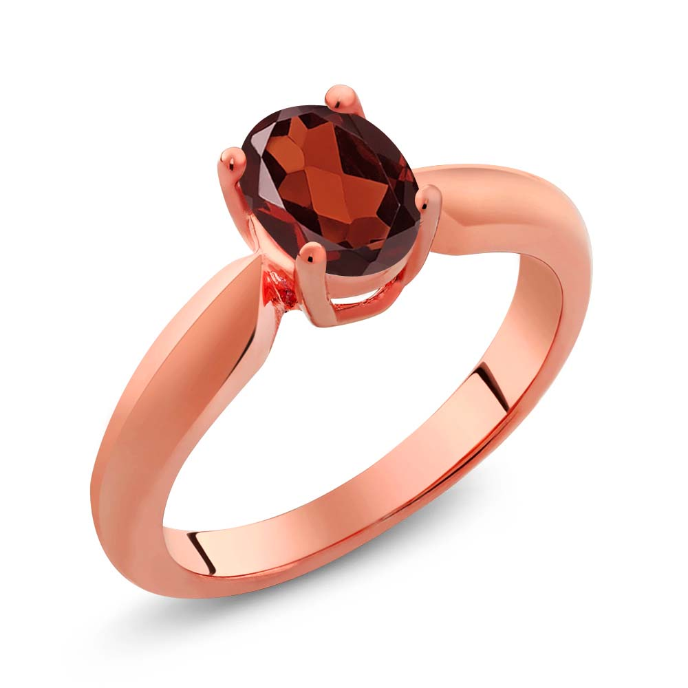 0.90 Ct Oval Red Garnet Rose Gold Plated Sterling Silver Ring