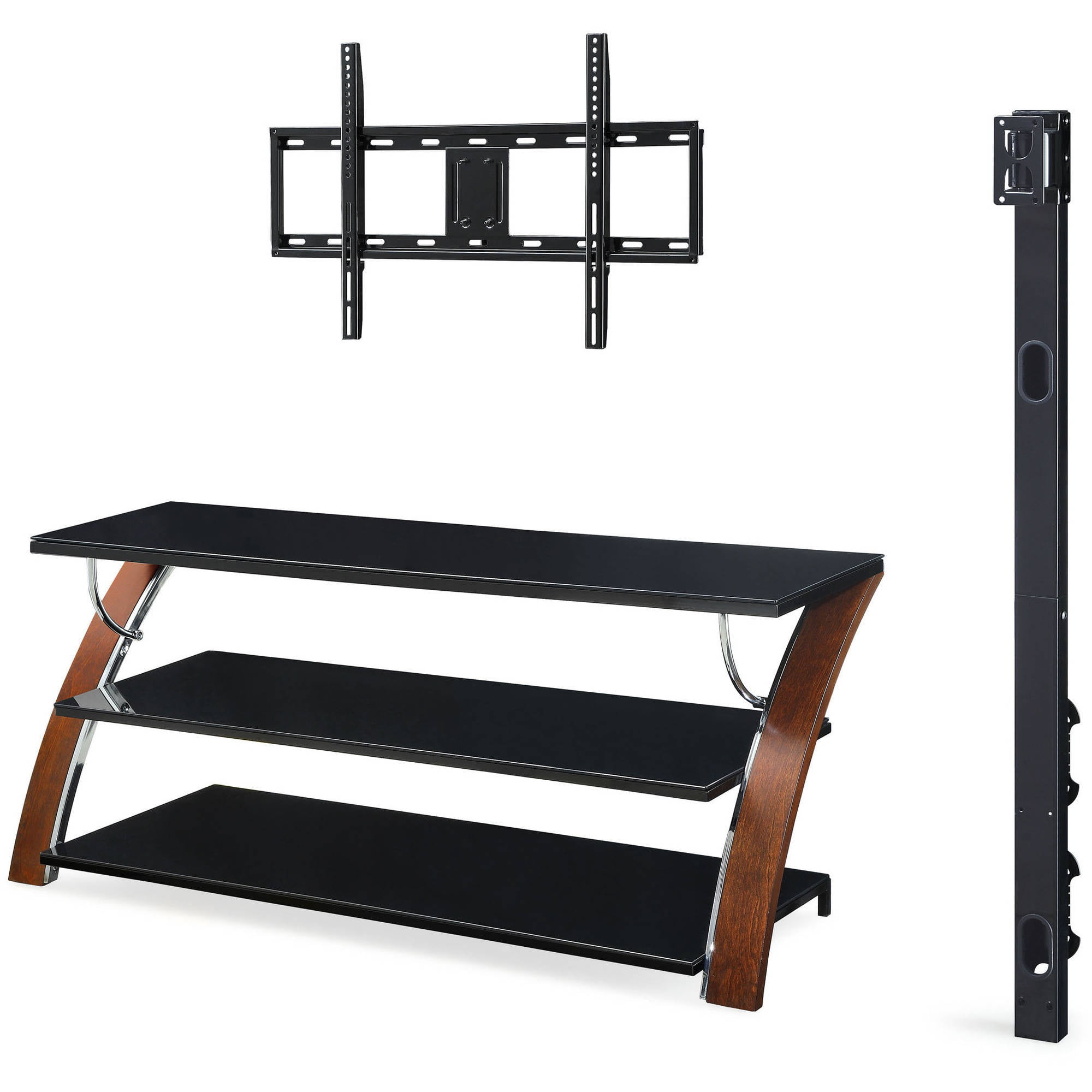 Whalen Payton Brown Cherry 3 In 1 Flat Panel Tv Stand For Tvs Up To