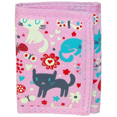 Size one size Kid's Cat and Butterfly Print Trifold Wallet, (Nylon Print Wallet)
